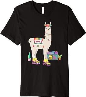 Retro llama Roller Skate Derby 70s 80s Gift girl Premium T-Shirt