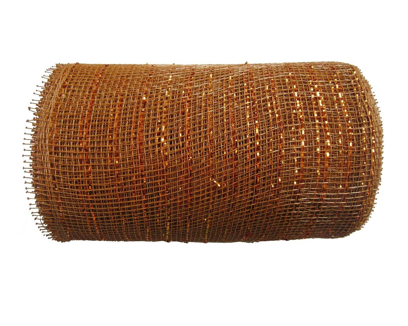 6 inch x 30 feet(10 Yards)-YYCRAFT Metallic Deco Poly Mesh Ribbon(Brown)