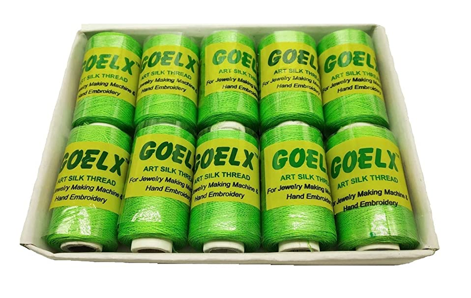 Goelx Silk Thread by Shade No for Jewelry, Tassel Making, Embroidery, Crafts, Shiny Soft Thread Spools - Green - 10