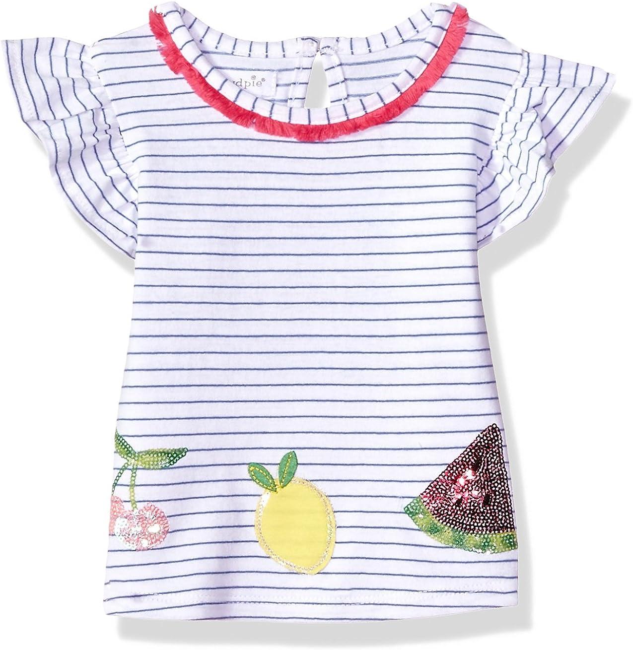 Mud Pie Baby Girls Fruity Stripe Tassel Flutter Sleeve T-Shirt
