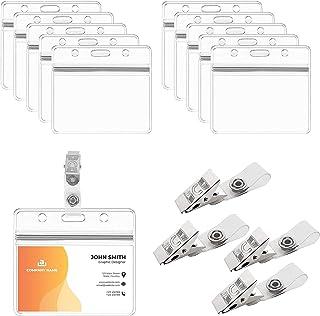 BAMZOK 50pcs Porte Badge Carte avec Clip Pochette Badges Transparent Plastique avec Pince Fixation en Métal Rigide pour Ca...