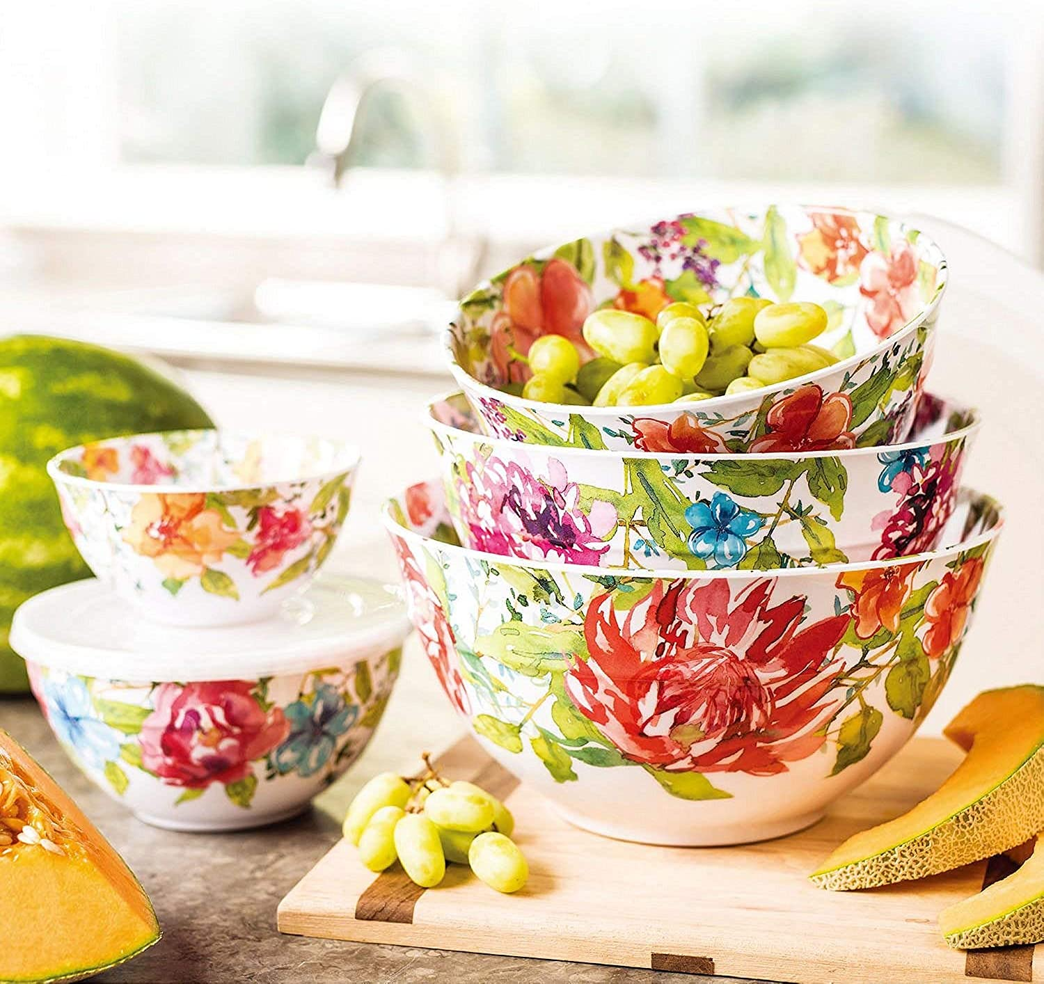 Melamine 10-Piece Bowl Set with lids Floral Design