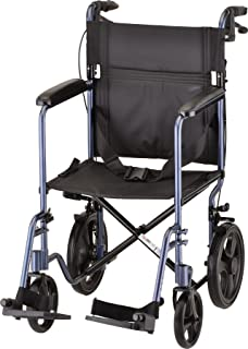 "NOVA Lightweight Transport Chair with Locking Hand Brakes, 12"" Rear Wheels, Full Length Padded Armrests, Blue"
