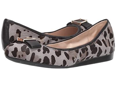 Cole Haan Emory Bow Ballet Flat (Titanium Combo Mercer Ocelot Print/Black Leather) Women