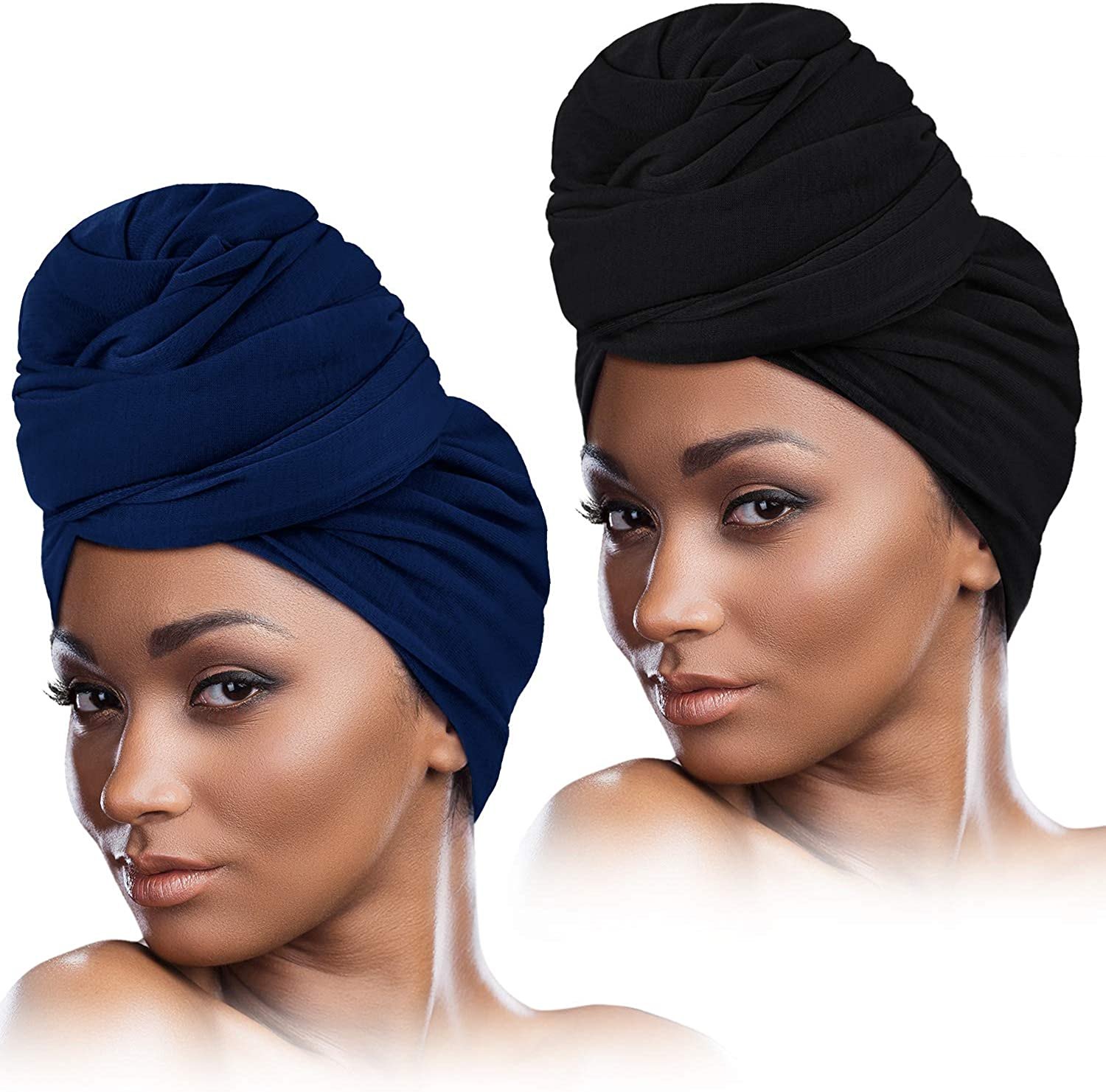 store 2 Pieces Stretch Head Excellent Wrap Stretchy Long Scarf Hair Turban