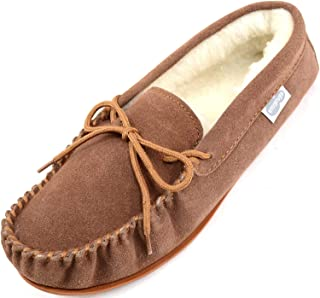 SNUGRUGS Lambswool Suede Moccasin Slippers with Rubber Sole - Light Brown - UK 11