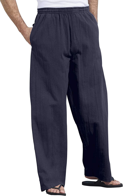 KingSize KS Island Men's Big & Tall Elastic Waist Gauze Cotton Pants