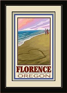 "Northwest Art Mall JK-4101 MFGDM LOC Florence Oregon Love On Coast Framed Wall Art by Artist Joanne Kollman, 13"" x 16"""