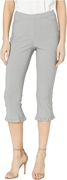Stretch Bengaline Flatten It Pull-On Capris w/ Hem Ruffle