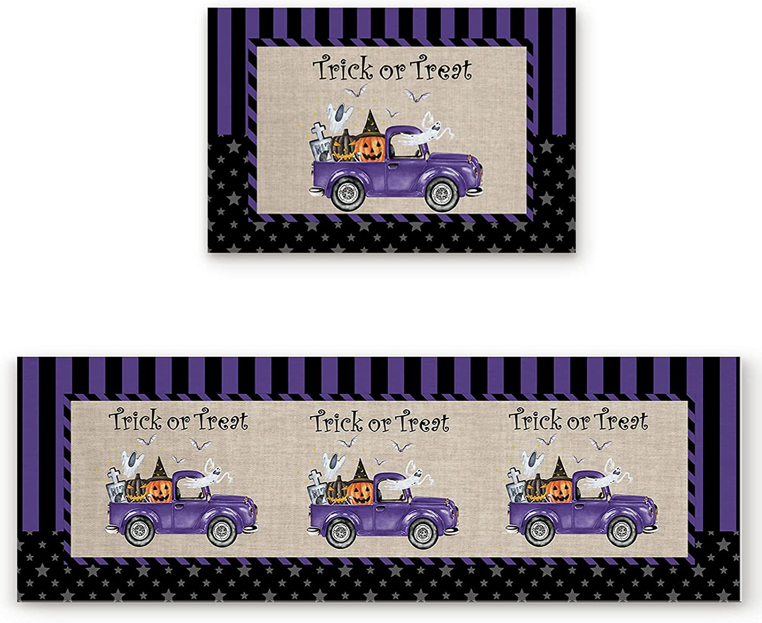 Max 78% OFF ZL Home Kitchen Rugs and Mats Halloween Ghos SEAL limited product with Pumpkin Truck