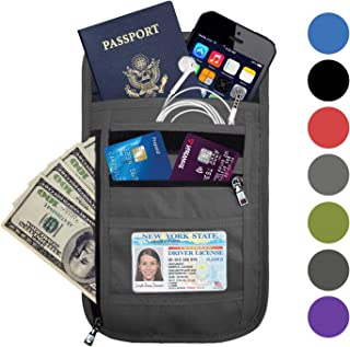 OMYSTYLE FASHION RFID Blocking Travel Passport Holder Neck Pouch for Men & Women