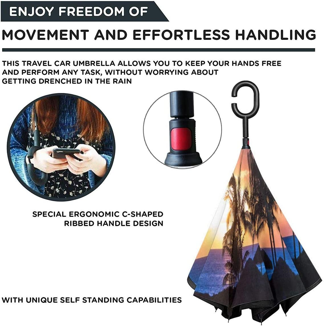 Reverse Umbrella Being Happy In Your Own Inverted Umbrella,UV Protection Windproof Umbrella C-Shaped Handle Double Layer Reverse for Car Outdoor Use