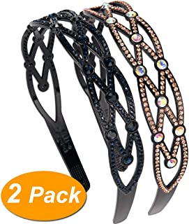 LONEEDY 2 Pack Fashion Rhinestone and Crystal Hard Headbands,1.4 inch Wide Non-slip Teeth Hairband for Women (Style2:navy blue+gold)