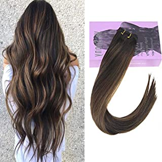VeSunny Balayage Bundles 100% Remy Human Hair Sew in Hair Weft Extensions Color 2/2/6-Ombre Darkest Brown Brown Mixed Medium Brown 100G for Full Head 20inch