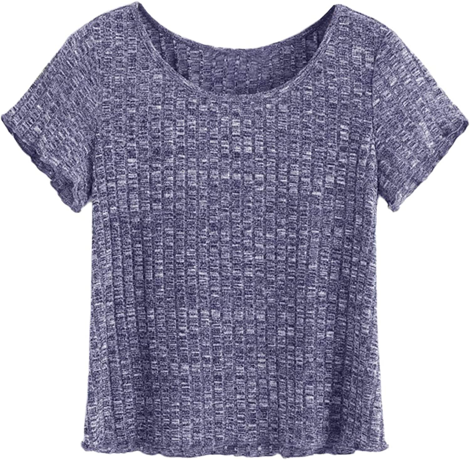 SheIn Women's Casual Basic Crew Neck Short Sleeve Ribbed Knit Tee