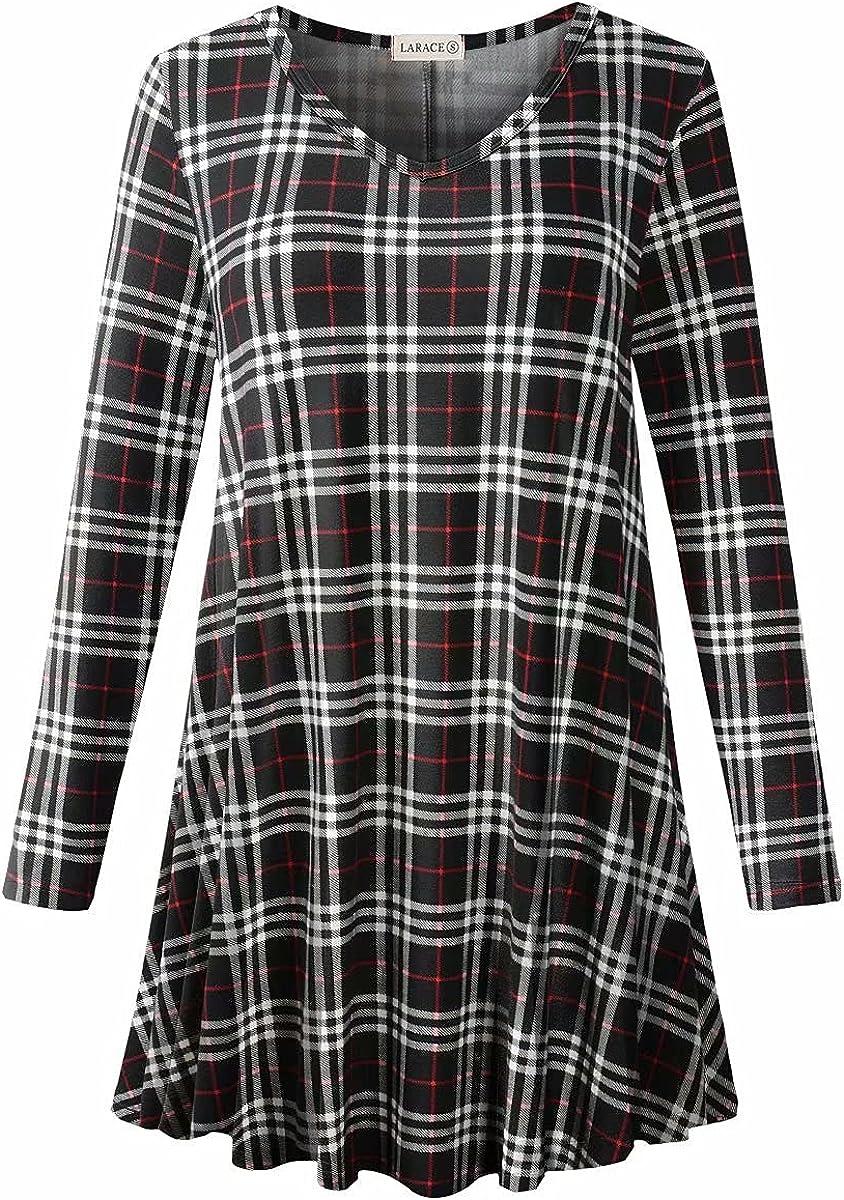 LARACE Long Sleeve Tunics Gorgeous Tops Plus Swing Women Size V for Neck ! Super beauty product restock quality top!