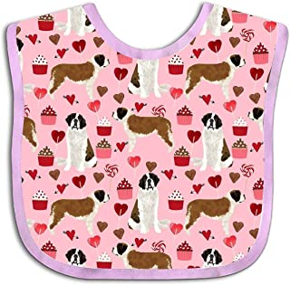 Saint Bernard Valentines Baby Drool Bibs, Unisex Gift for Drooling and Teething, Soft and Absorbent