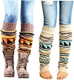 VIGVOG Women's Boho Knitted Warm Long Leg Warmers