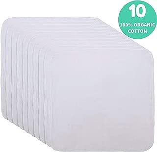Organic Cotton Facial Cleansing Cloths- Set of 10 Muslin Makeup Remover Reusable Washcloths- Cotton Facial Towels - Muslin Cloth Makeup Remover - Extremely Soft