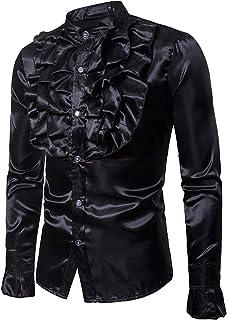 Overhemd met opstaande kraag voor heren Modieus kantontwerp Trendy Streetwear Casual Comfortabele effen kleur Normaal over...
