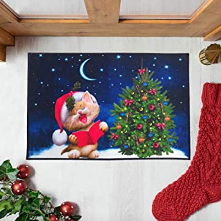 Mimgo-shop Little Cat Christmas Doormat Indoor/Outdoor Christmas Welcome Mat Rubber Backing Non-Slip Xmas Home Decoration ...