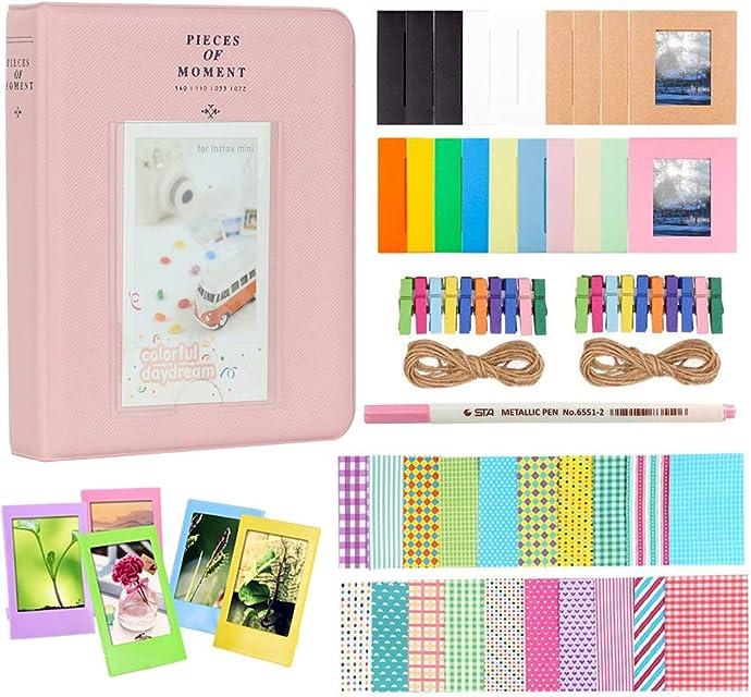 Anter Photo Album Accesorios para Fujifilm Instax Mini Camera HP Sprocket Polaroid Zip Snap Snap Touch Impresora Films con Film Stickers Album & Frame (64 Pocket Pink B)