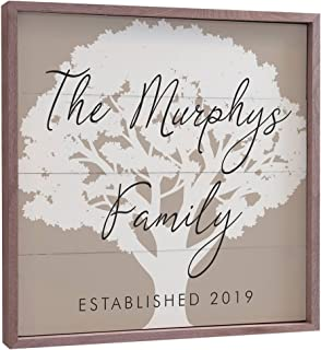 GiftsForYouNow Personalized Family Tree Framed Wall Sign, Tan, 12x12
