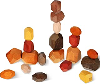 20 Piece Wooden Rock Balance Blocks Set Stacking Wooden Game Blocks DIY Wooden Building Blocks Educational Sorting and Sta...