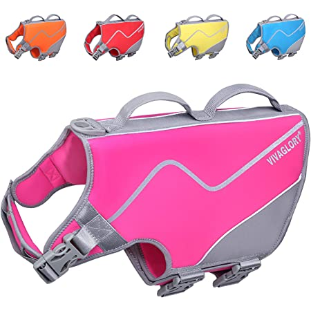 Vivaglory New Neoprene Sports Style Dog Life Jackets, Snug & Safer Dog Life Vest with Superior Buoyancy & Rescue Handle