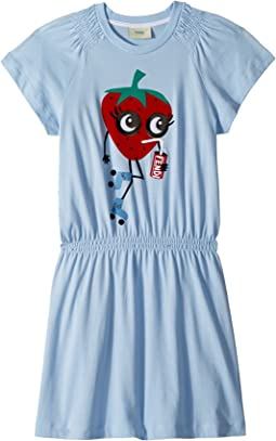 Fendi Kids Ruffle Sleeve Dress w/ Strawberry On Front (Little Kids)