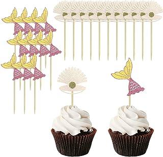 24 Pcs Mermaid Cupcake Topper Set, Glitter Mermaid Tail Happy Birthday Cake Picks Decoration, Little Mermaid Theme / Birth...