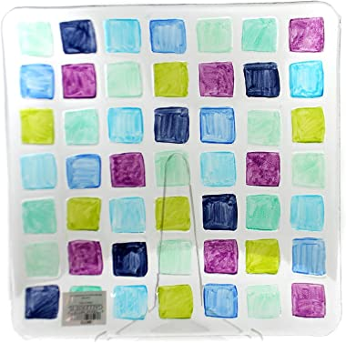 """Tabletop Mosaic Square Platter, 13.0"""", Fusion Glass, Serving Tray, Decorative Platters, 68773"""