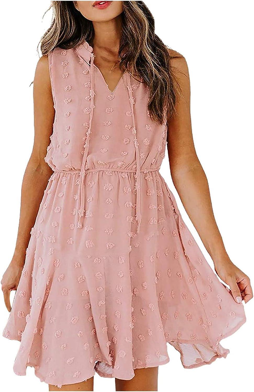JUNLIN Women Strapless Short T Shirt Dress V Neck Empire Waist Casual Loose Bohemian Summer