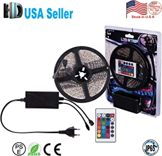5 Pack 16ft LED String Light, Rope Light SMD5050 RGB&Single Color Changing Flexible Waterproof 300 LEDs with DC12V 5A Power Adapter (White 6000k)