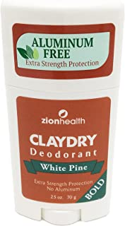 Desodorante de seda seca Zion Health Arcilla, pino blanco, 6,35 g