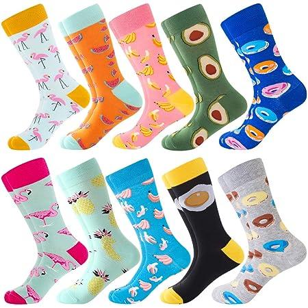 Men's Fun Dress Socks, Colorful Funky Socks for Men, Fancy Novelty Funny Patterned Casual Combed Cotton Office Socks,Mid Calf Cool Crazy Socks Unique & Striking Design