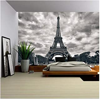 wall26 - Eiffel Tower with Dramatic Sky Monochrome Black and White - Removable Wall Mural | Self-Adhesive Large Wallpaper - 100x144 inches
