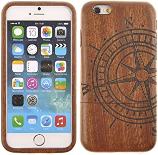 Semoss Ultra Slim Hecho a Mano Naturaleza Bambu Funda Brújula para Apple iPhone 7 Madera Carcasa Bamboo Cover Piel Rigido Bumper Hardcase