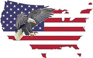American Eagle Sticker USA Flag Patriotic Stars and Stripes Car Window Auto Bumper Sticker Vinyl Decal (3x5