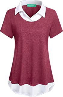 Kimmery Womens Short Sleeve Collared Patchwork Swing Office Blouse Shirts