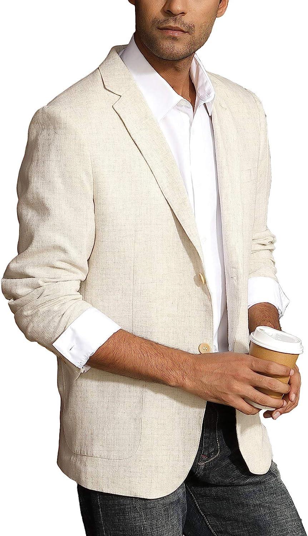 PJ PAUL JONES Men's Slim Fit Lightweight Linen Jacket Tailored Blazer Sport Coat