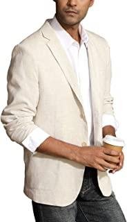 PJ PAUL JONES Men's Casual Slim Fit Linen Jacket Lightweight 2 Button Blazer Sport Coat