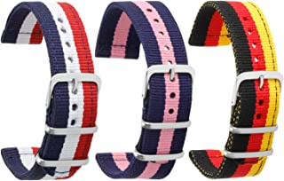 Bonstrap Nylon Watch Band [3 Pack] Premium Nylon Replacement Watch Strap 18mm 20mm 22mm 24mm Color&Size