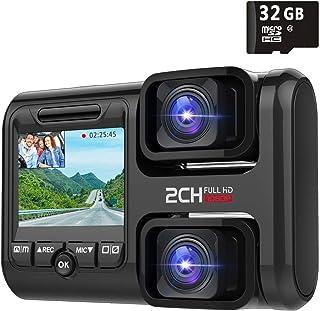 【32Gカード付き】ドライブレコーダー 前後カメラ 1080PフルHD 車内外同時記録 wifi搭載 内蔵GPS sonyセンサー 1200万画素 170度広角 WDR 駐車監視 常時録画 動体検知 回転レンズ