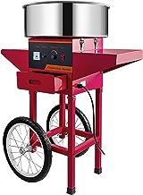 Machabeau Machine Barbe Papa en Couleur Rouge, avec Chariot, Professionnelle, Cotton Candy Machine Idéale pour Réunions et...