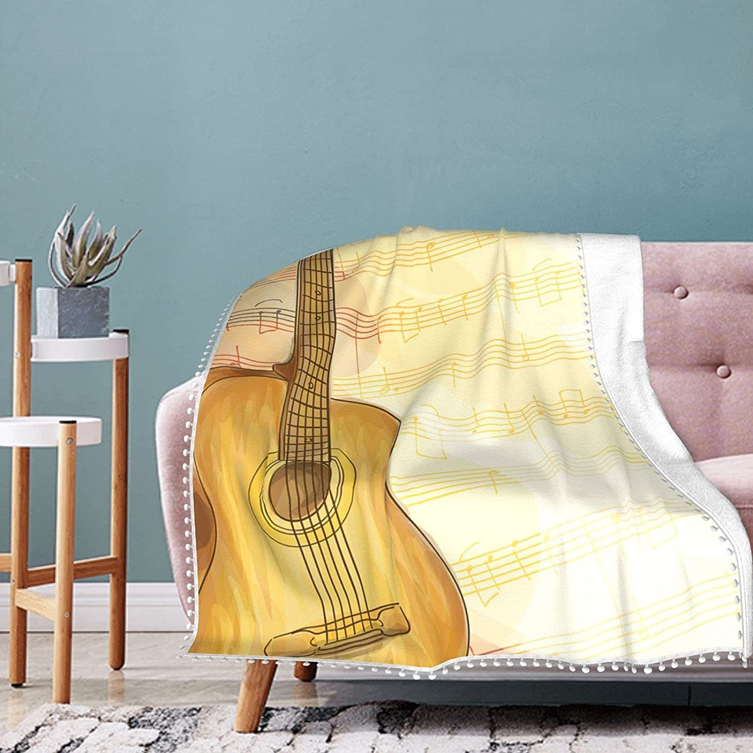 Music Milwaukee Mall Guitar Blanket Pompom Air Same day shipping Fringe Blan Conditioning
