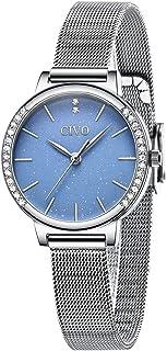 CIVO Relojes para Mujer Inoxidable Resistente Agua Reloj de Pulsera de Plata Oro Rosa Azul Cielo Estrellado Vestido Malla ...