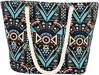 Strandtasche Shopper Damen Aufdruck viele Muster Geometrie Groß XL mit Reißverschluss (Blau 2)