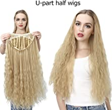 Curly Clip in Half Wig Blonde Synthetic Long 26