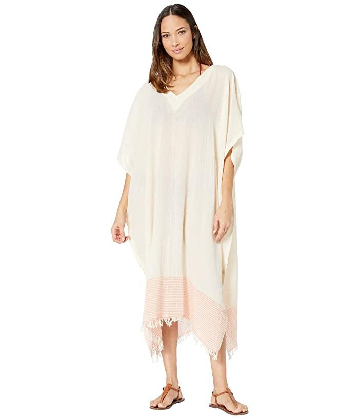 Hat Attack  Avery Kaftan Cover-Up (Cream/Coral Stripe) Womens Swimwear